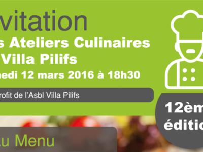 Invitation 12ème atelier culinaire Villa Pilifs